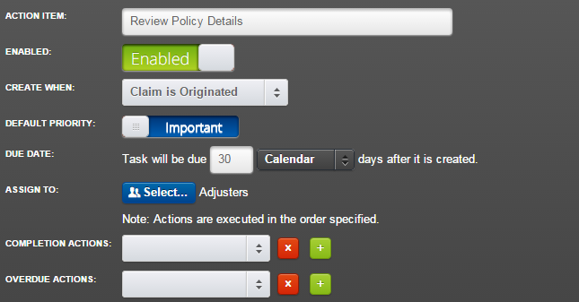 Create an Action Item to Review Policy Details and related tasks.