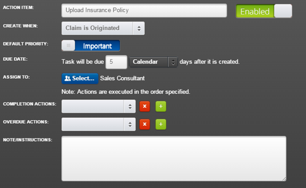 Create an Action Item to Update Insurance Policy and related tasks.