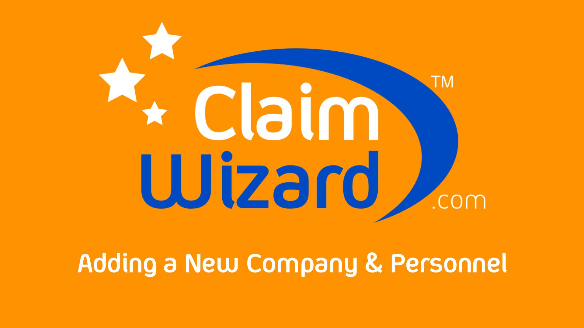 Adding New Company & Personnel