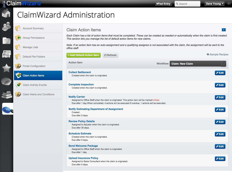 ClaimWizard - Admin Tab - Claim Action Items