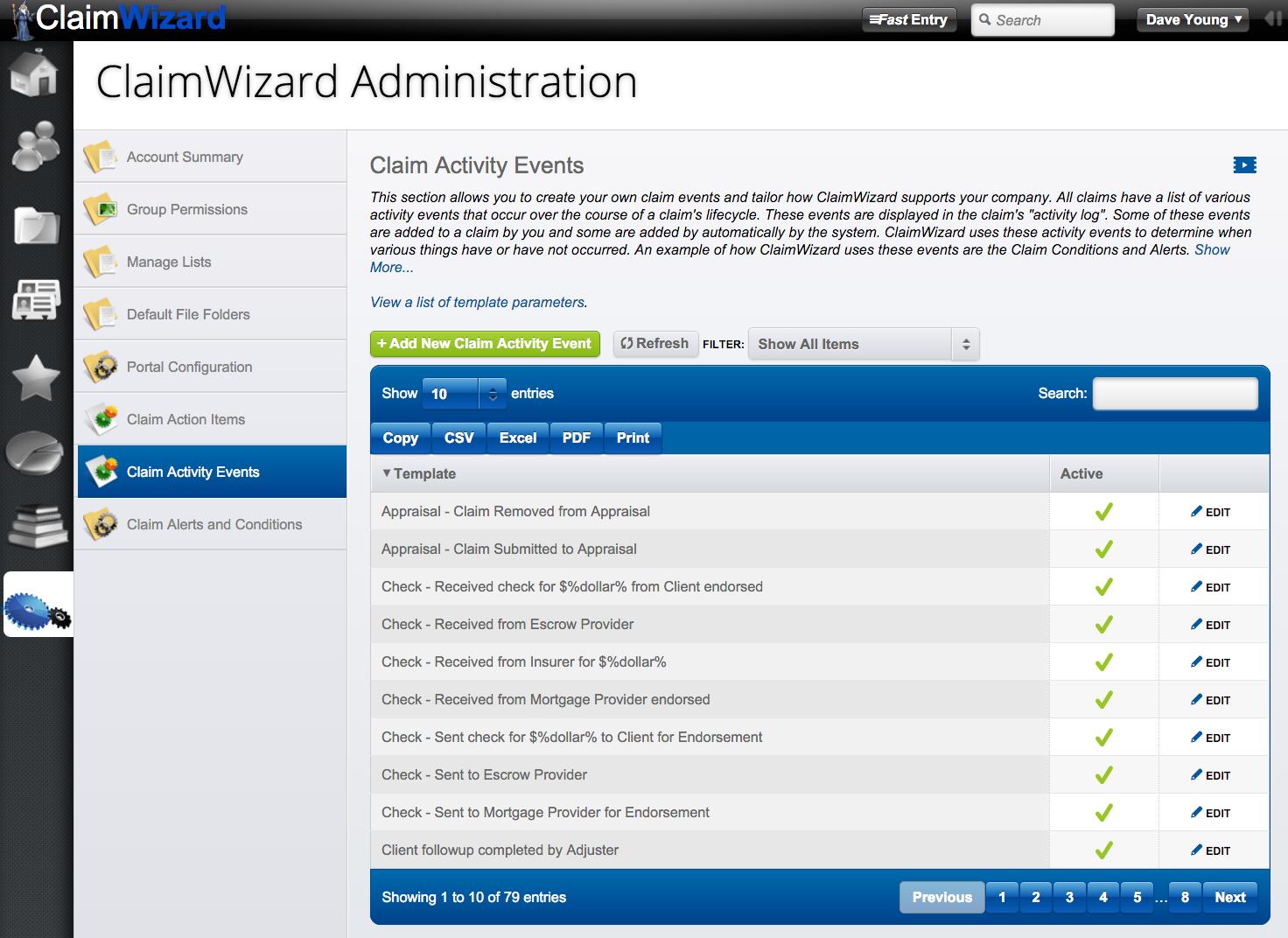 ClaimWizard - Admin Tab - Claim Activity Events