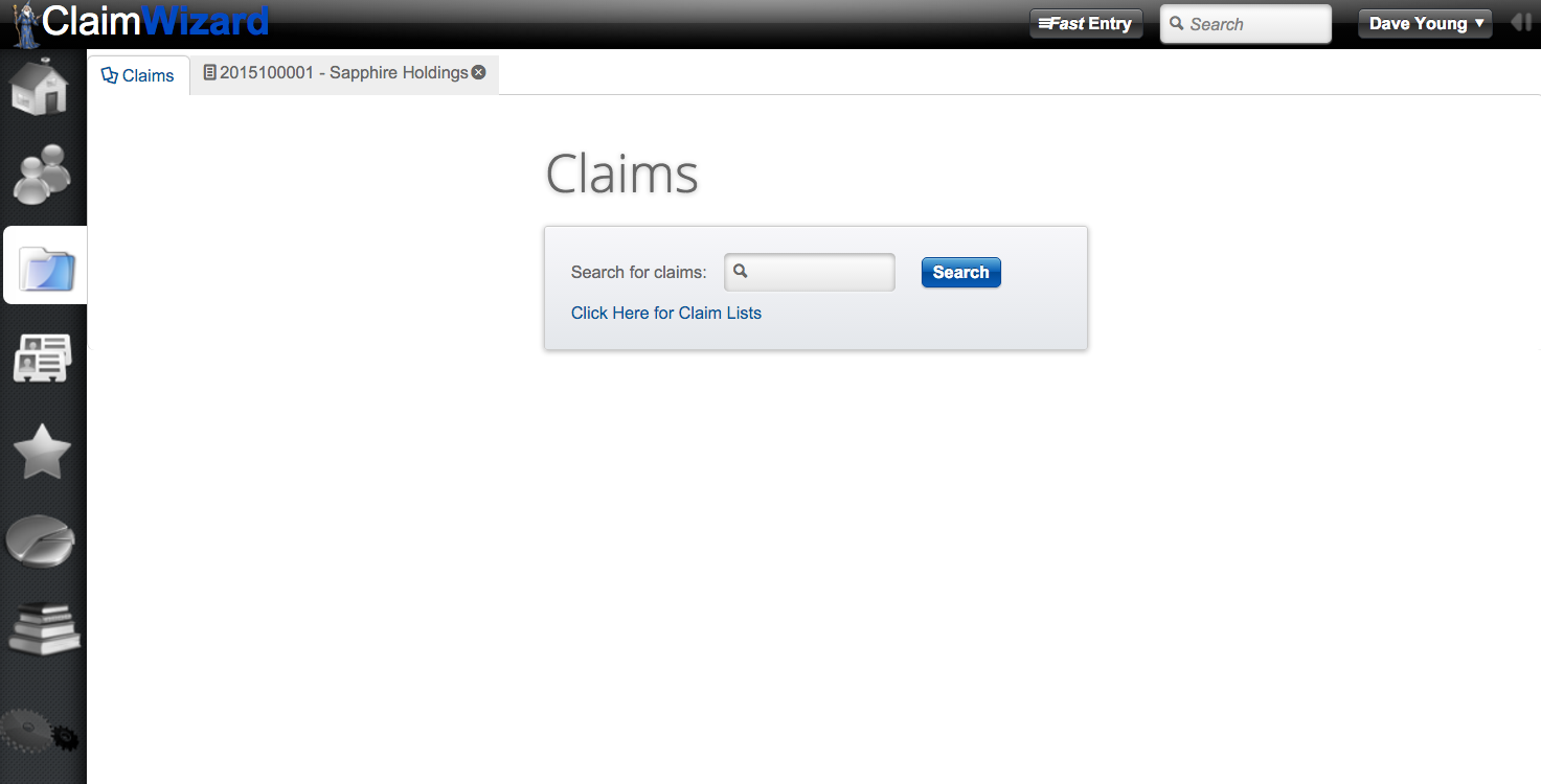 ClaimWizard - Claims Tab