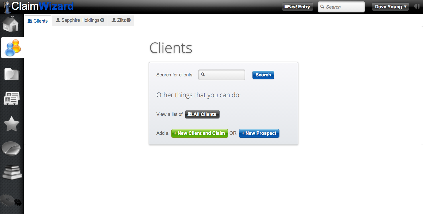 ClaimWizard - Clients Tab