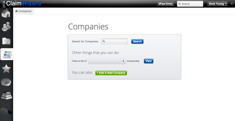 ClaimWizard - Companies Tab