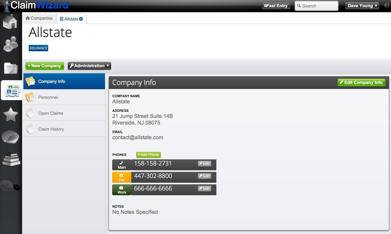 ClaimWizard - Companies Tab - Open Company Record