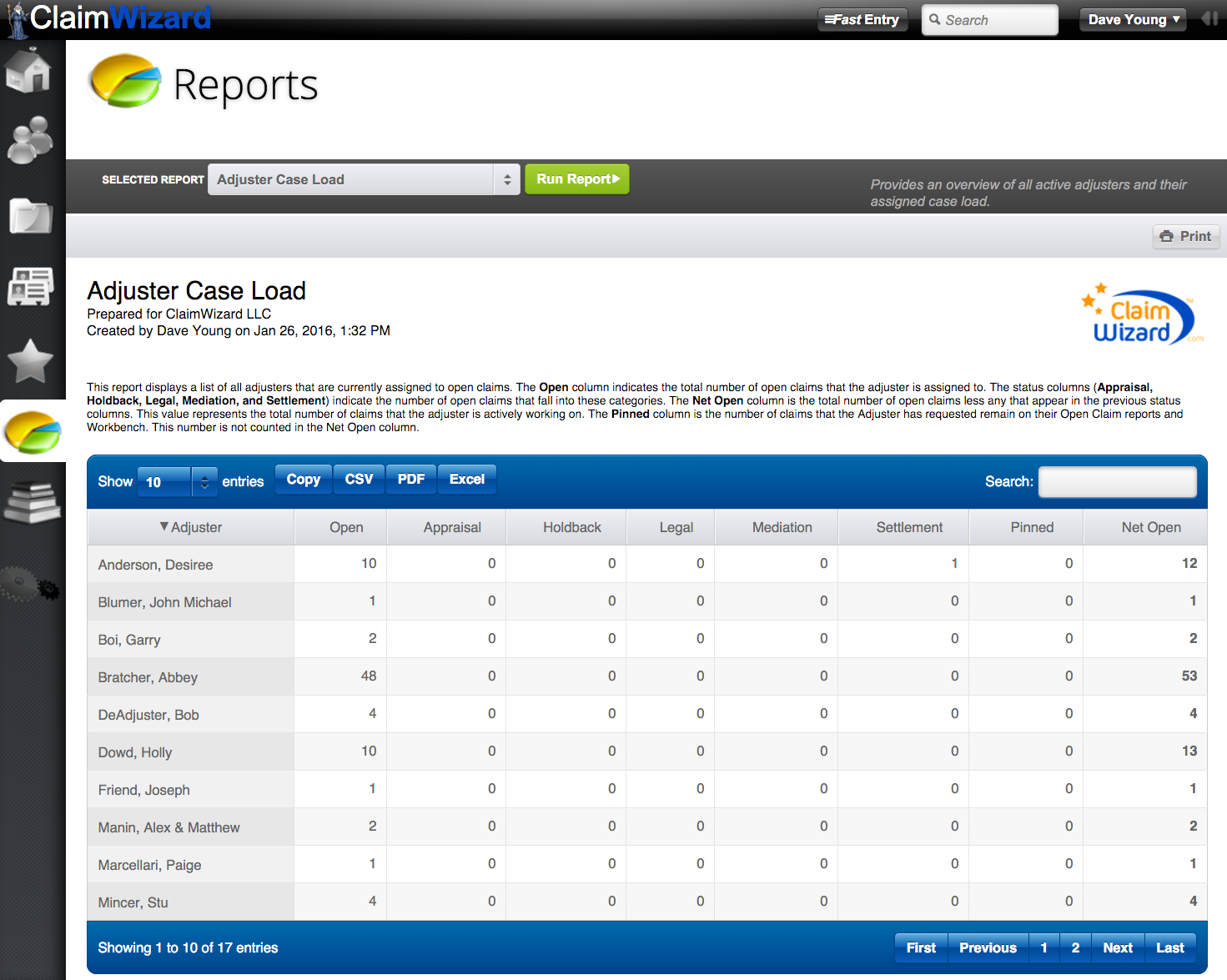 ClaimWizard - Reports Tab - Open Report